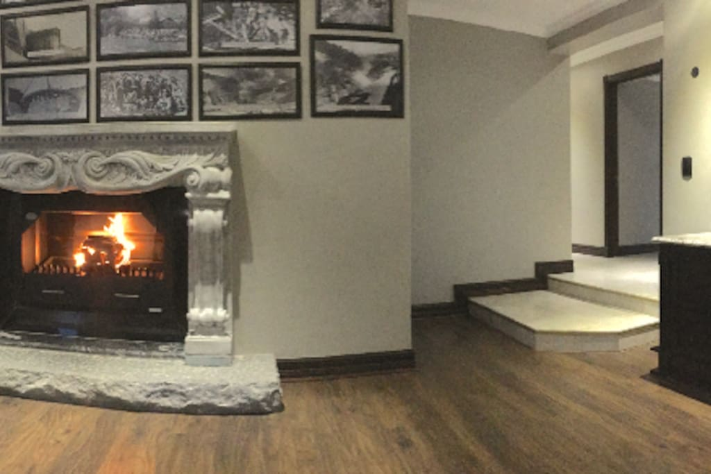 Cozy fire place in the communal lounge.