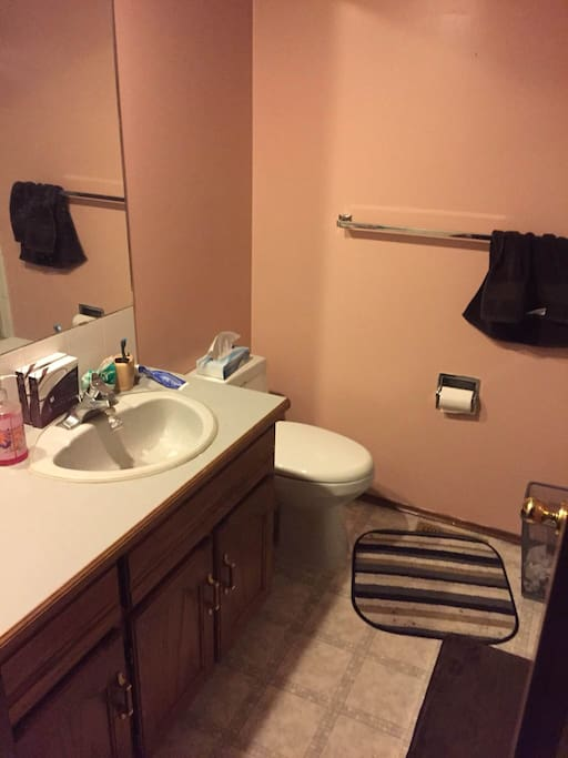 Bathroom has toilet, toilet paper, towels, face clothes, shampoo and shower!