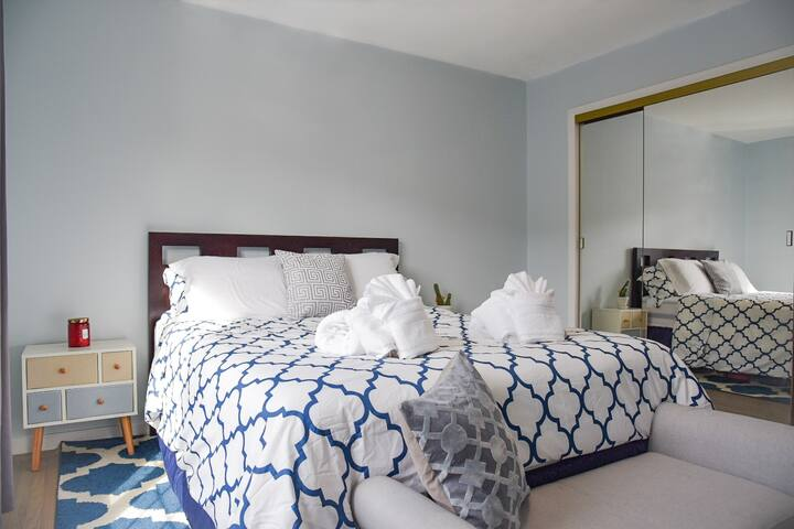 We have your room professionally cleaned before your stay to ensure you get here to a sparkling home!