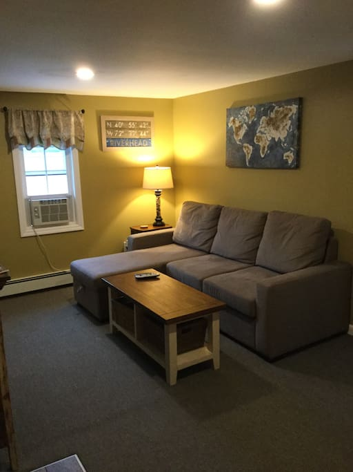 "Living space with large couch (that pulls out into a queen size bed), Kitchenette and ""smart"" tv."