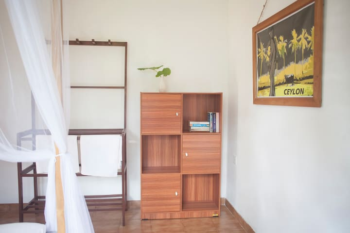 The bedroom has been updated for this season with extra storage
