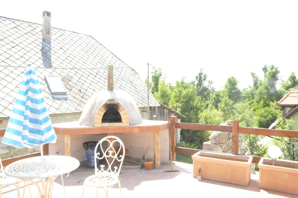 Pizza oven on the terrace