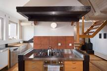 The kitchen is fully fitted with washing machine, kettle, stove, oven etc.