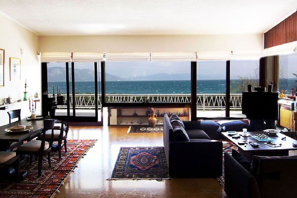 Main living area at the first floor of Villa Agios with breathtaking views