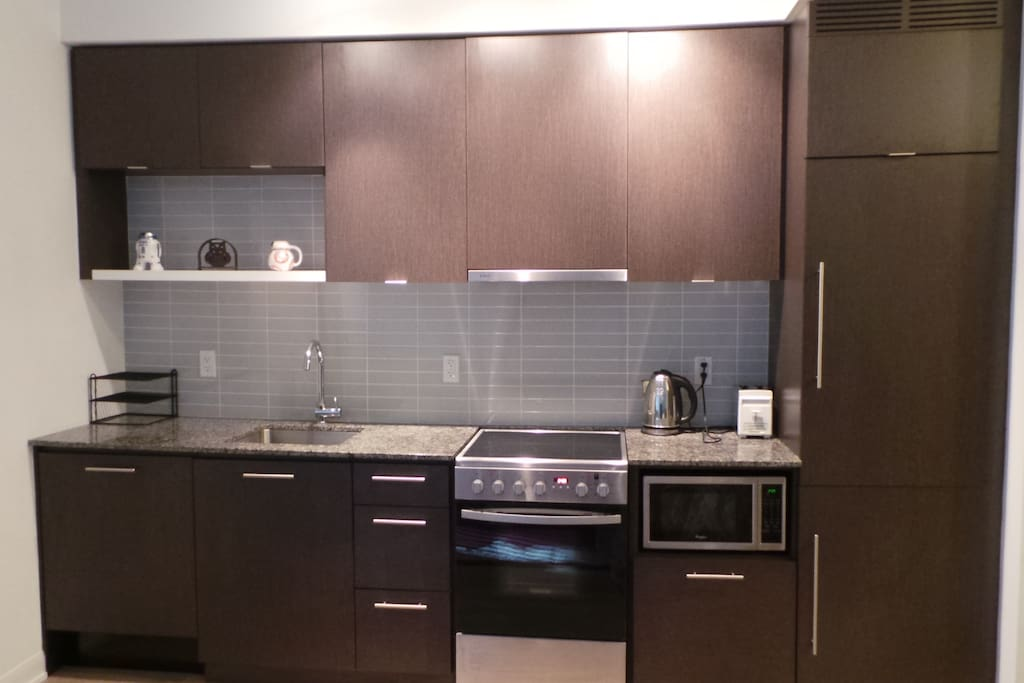 Kitchen with built in dishwasher and fridge, microwave and ceramic cooktop stove