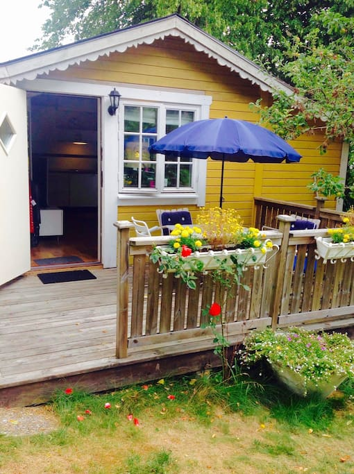 "Enjoy ""fika"" and meals on your private porch."