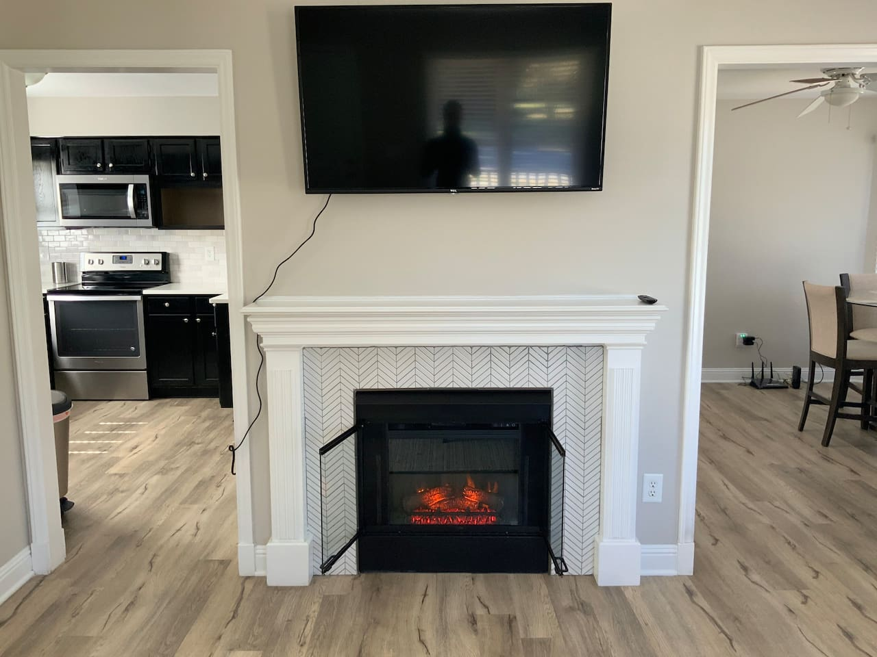 Welcome to your happy space! Enjoy the ambiance and/or warmth of the 2-sided fireplace.