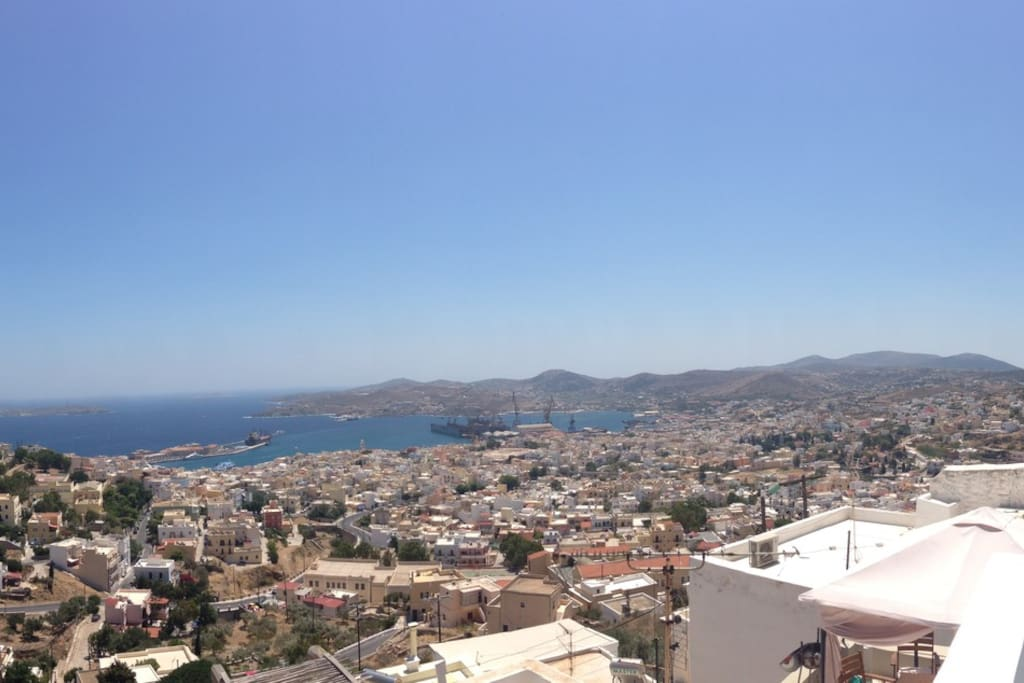 Panoramic view of Ermoupolis and the old shipyard
