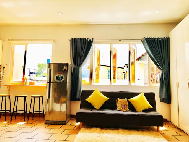 What is the different between Maye's house and another house? <3 Two windows make full of nature light in the apartment, good view to iconic Bitexco Tower, simple design to saving space and make you feel comfortable, yellow color make you smile :)