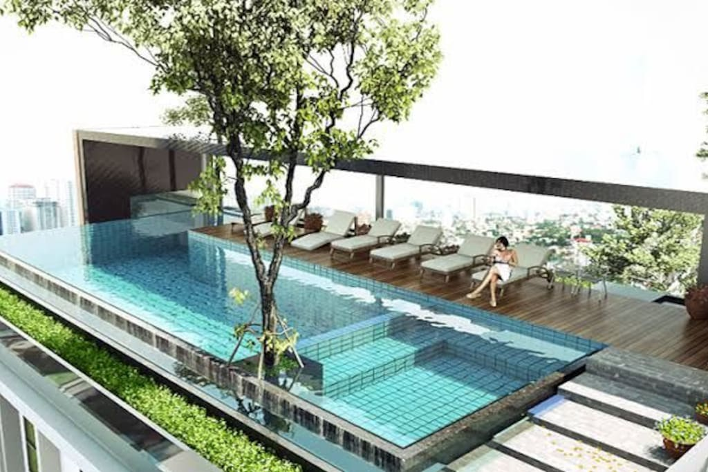 pool on the roof of the building