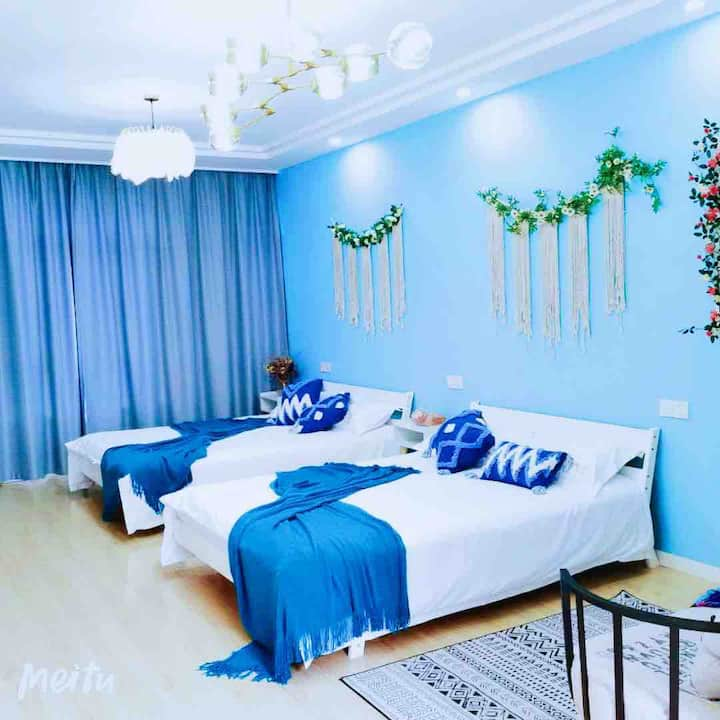 【那蓝】游园送接免费,30平米大空间,2大床房