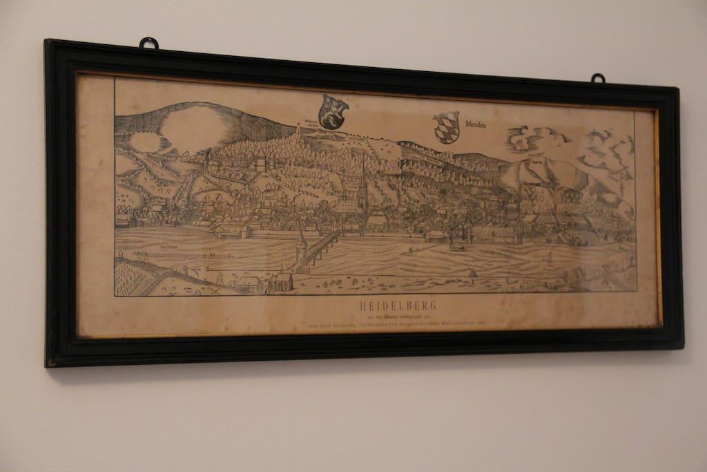 Historic drawing of Heidelberg