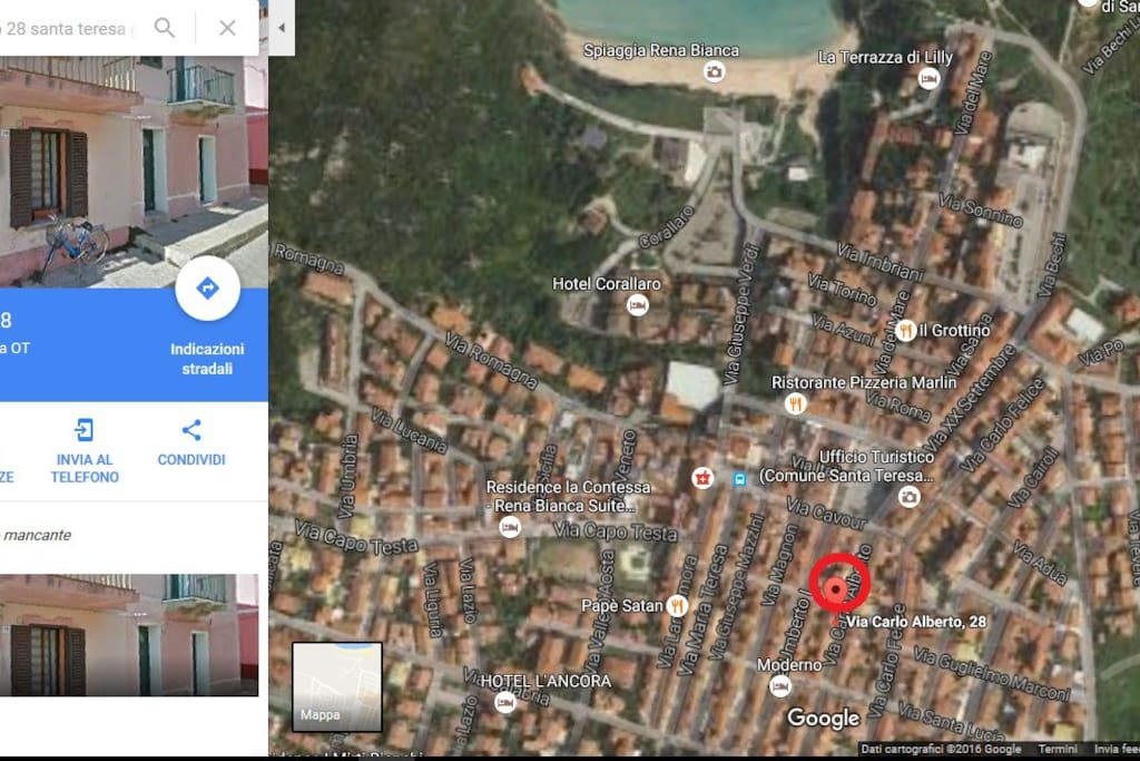 localizzazione nel centro storico di S. Teresa Gallura