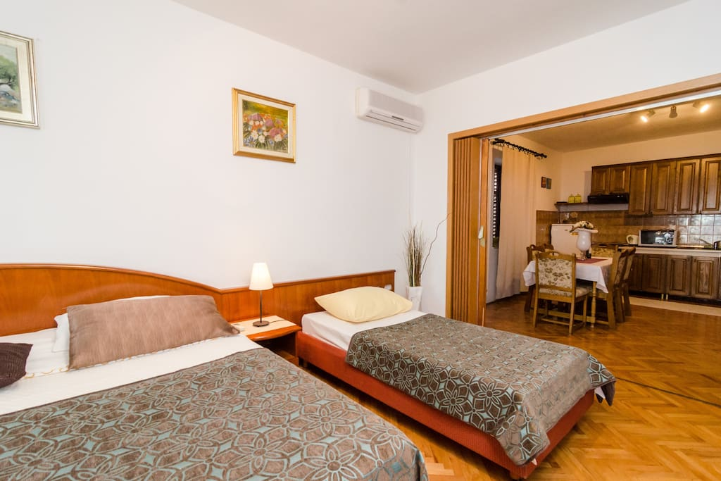 This comfortable bedroom will provide you with one double bed and a single bed