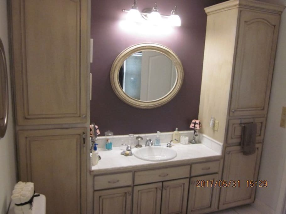 Quest bathroom sink and storage