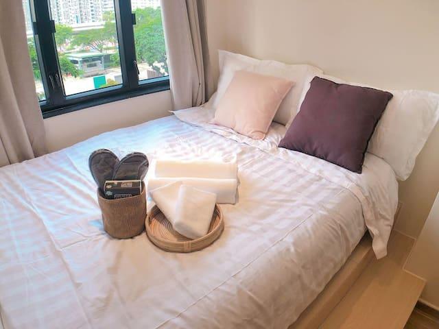 精致装修双床房可住3人,两分钟地铁