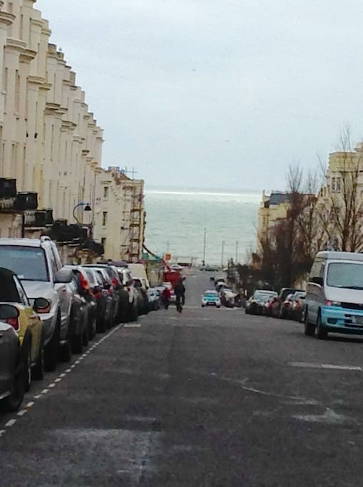Close to Hove beach and seafront - view from outside the flat to the beach.