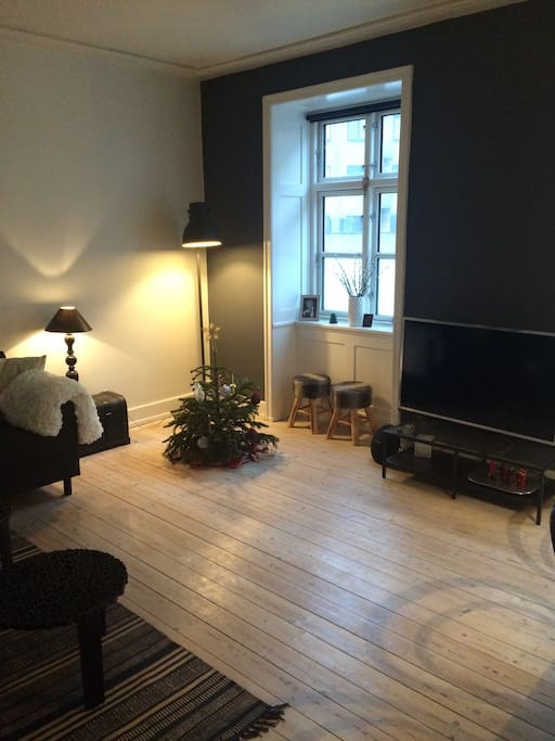 Big spacious Living room with cable tv and netflix on the tv.