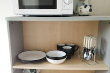Microwave oven in gust breakfast room