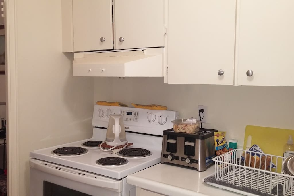 Fully equipped kitchen with microwave, fridge and all the needed items
