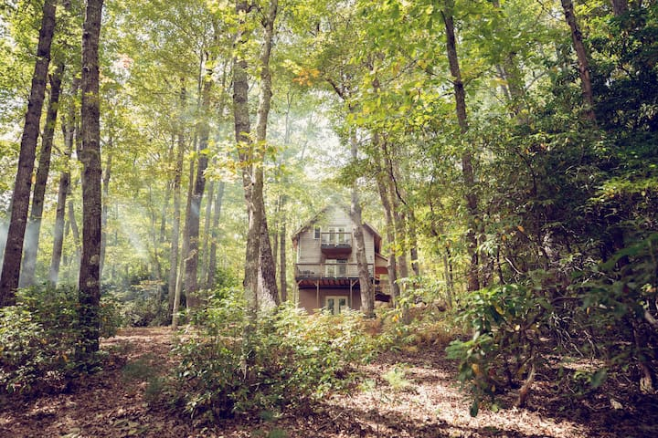 Cute Cabin w/ Hot Tub- walk to Chateau Morrisette!
