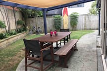 Covered outdoor area. great for guests or large groups. seats 10-12 persons