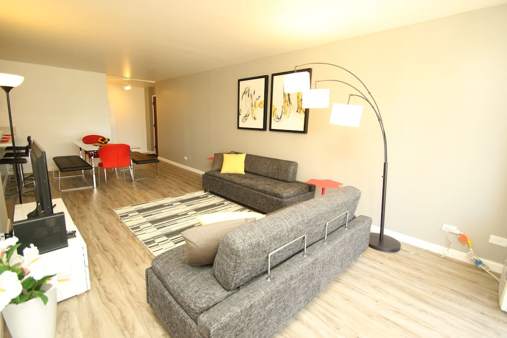 Newly renovated Spacious Rare 2 bed room in the secure building. (Living Space 839 sqft & 125 sqft) Brand New one Full Bed and 1 Twin Bed in the Master Bedroom, 1 Queen Bed in the 2nd Bedroom, and 2 Full Size Sofa Beds in the Living room.