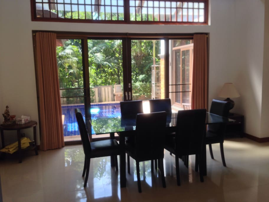 Dining area with pool view
