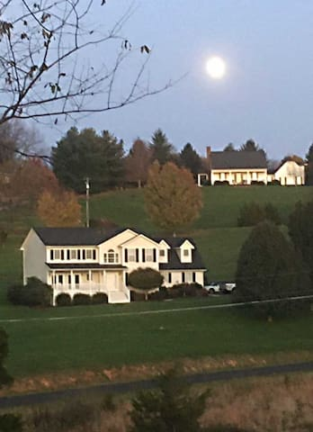 Full moon and neighborhood view from back yard