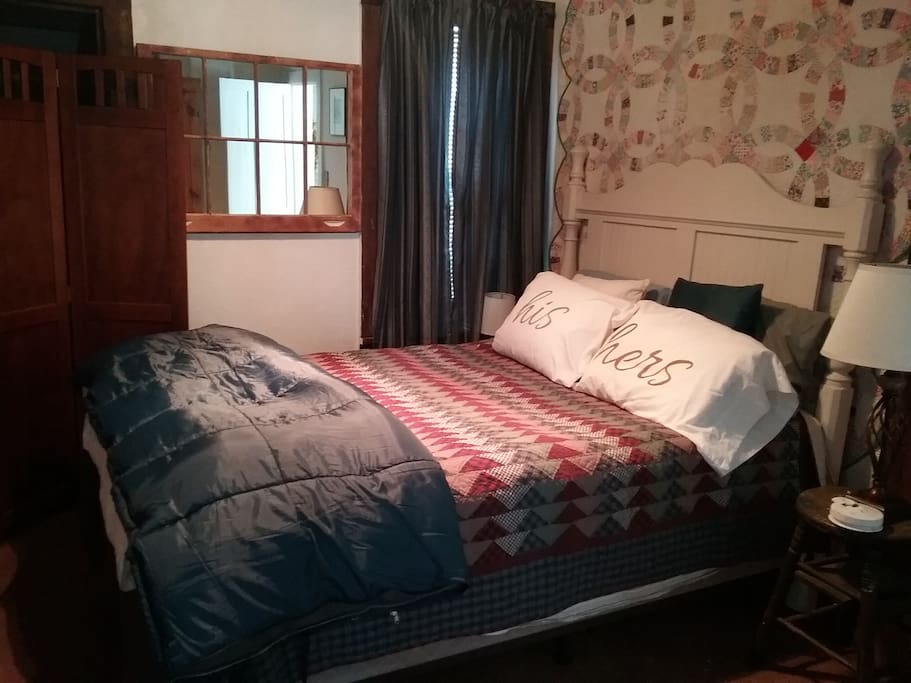 Very comfortable queen bed in master