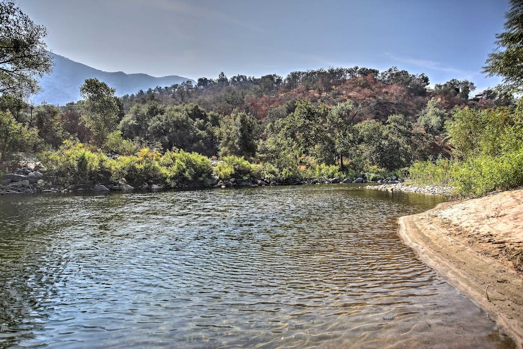 This swimming hole with sandy beach is a quiet beautiful place.
