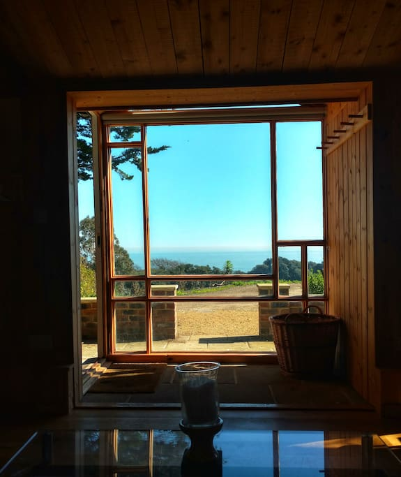 This is the view out The Cabin's large Mondrian-inspired window over the English Channel