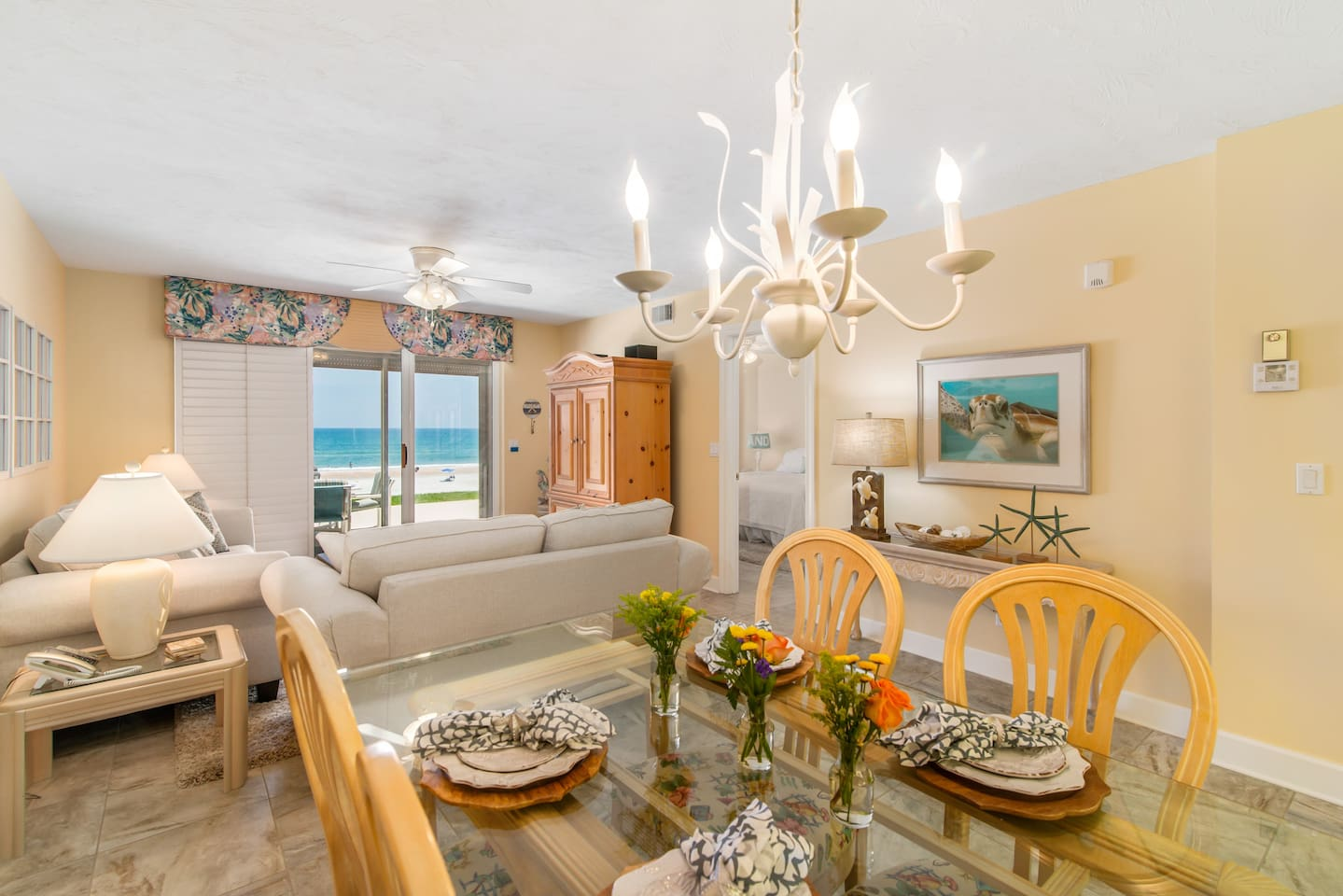 View of family room from dining area.  Ocean view