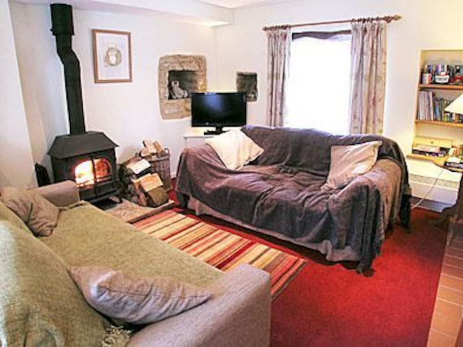 Comfy sofas and cosy logfire