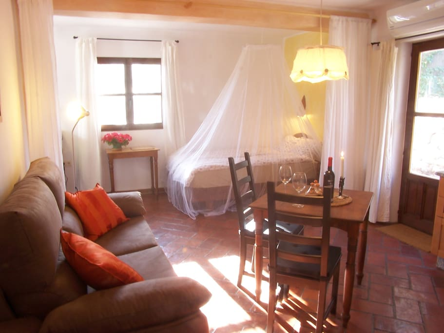 rural apartment perfecto for two person. There is a curtain that can separate the living area from the sleeping area.