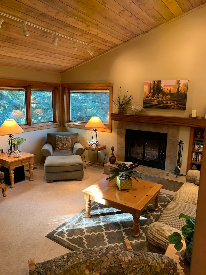 Living Area with a fireplace, Bald Mountain views and comfortable seating.