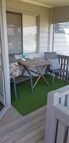 Front porch area of the cottage,  looking over the Bermagui Harbour.