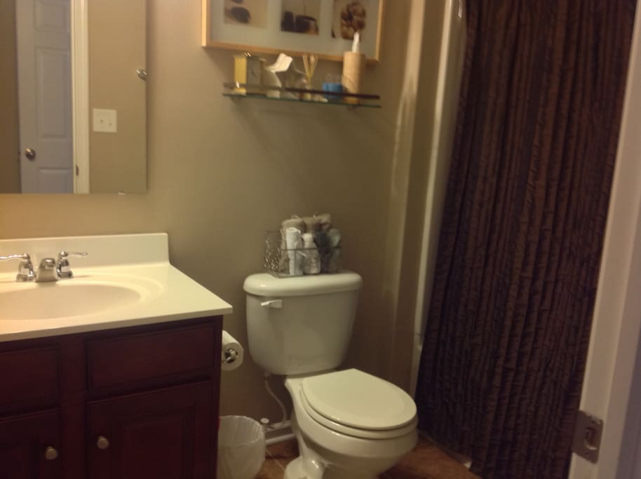 Full size tub with shower