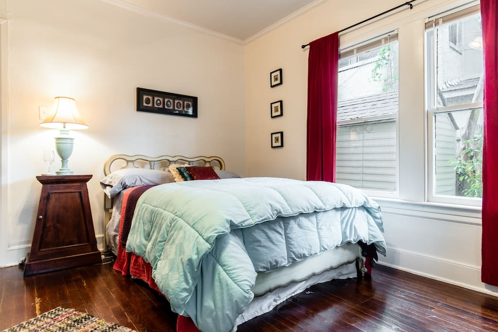 two queen size beds and closet for guests
