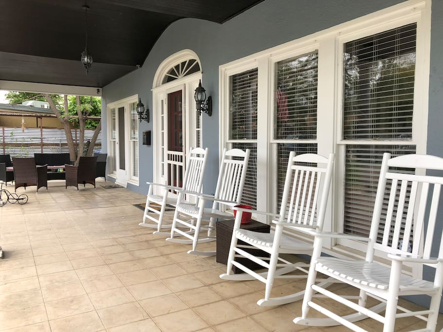 Great covered porch to enjoy coffee or a glass of wine.