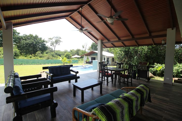 Spacious outdoor dining and living area