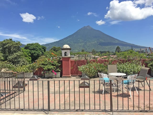 Your home in Antigua, with a view of volcanoes