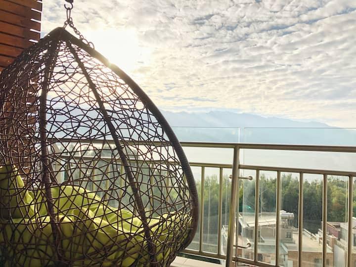 【夕舟·素心】大理洱海海景双房LOFT  阳光吊椅,临海卧室躺着就能看见洱海,全套厨卫,精选咖啡茶