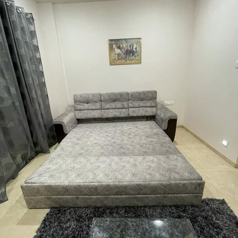 Sofa cum bed in living room space (ideal for 2 people)