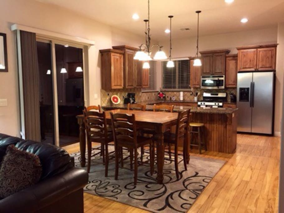 Dining room with 8 person dinner table