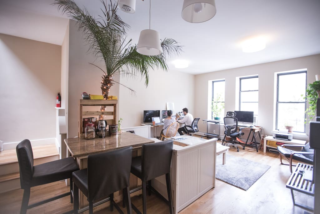 This 2nd floor office is a nice place to relax. With direct access to the 2nd kitchen, you can also make a snack to enjoy while you read or browse