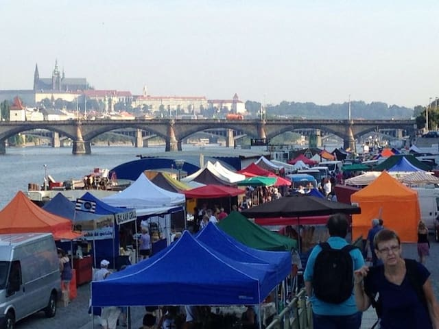 """Famous """"Farmers market Náplavka"""" - 15 minutes walk from our apartment"""