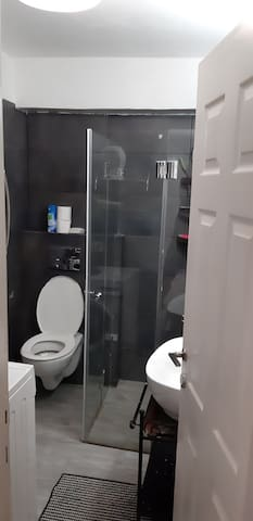 Shower/toilet ,for guests use only,  But the washing machine,  that the owner will use.
