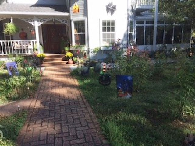Brick path to front door