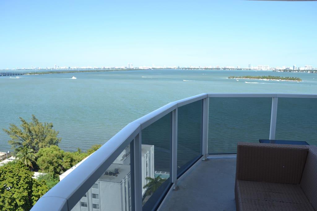 Wrap-around balcony overlooking Biscayne Bay